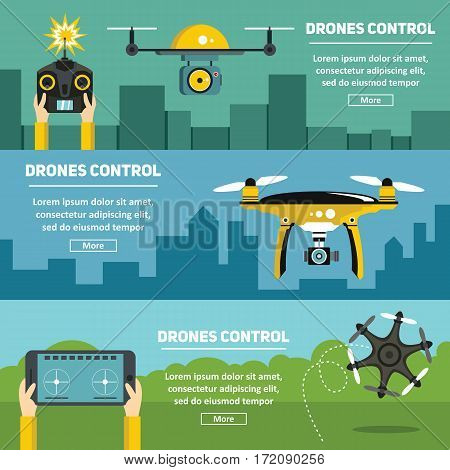 Flat banners with drones multicopters and remote control. Vector illustration
