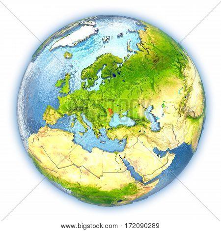 Moldova On Isolated Globe