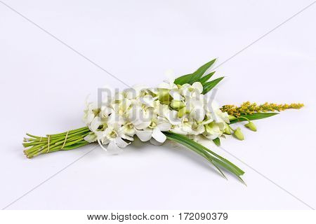 White orchid with pandan for Buddhist begging isolated on white background.