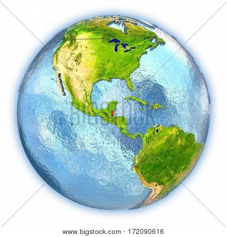 Belize On Isolated Globe