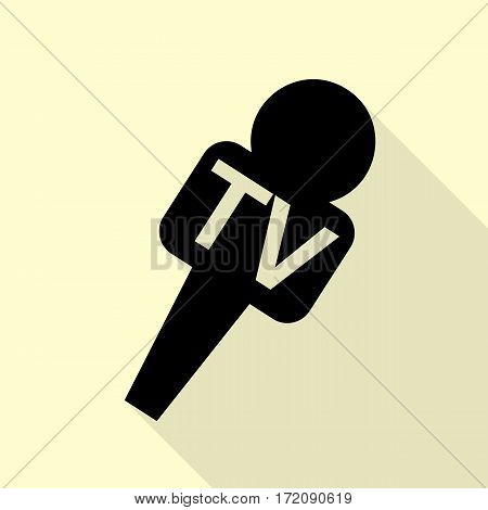 TV microphone sign illustration. Black icon with flat style shadow path on cream background.