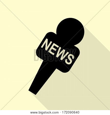 TV news microphone sign illustration. Black icon with flat style shadow path on cream background.