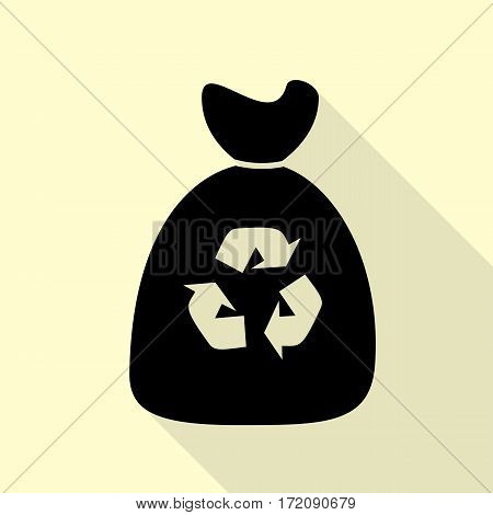 Trash bag icon. Black icon with flat style shadow path on cream background.