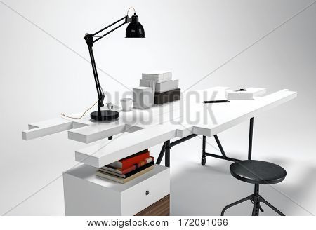 White modern office desk concept with lamp, round stool. Futuristic furniture 3D concept isolated on white background. 3d rendering