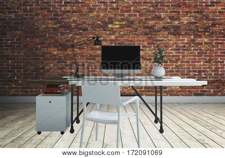 White computer desk with lamp and plant with chair standing on wooden floor against brick wall. 3d rendering
