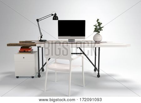 Working desk with chair, computer, lamp and plant, isolated on white background. Furniture 3D concept