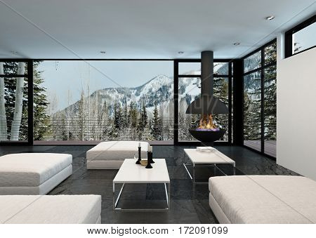 Cozy stylish living room interior in a house in the mountains overlooking snowy peaks and pine trees through large view windows. 3d rendering