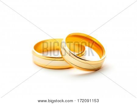 Wedding rings isolated on white background