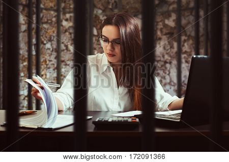 Female bookkeeper, illegal accounting concept