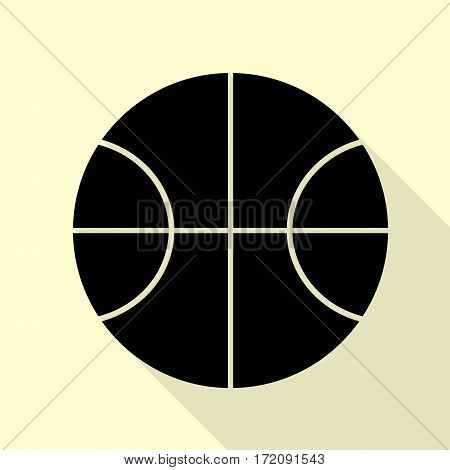 Basketball ball sign illustration. Black icon with flat style shadow path on cream background.