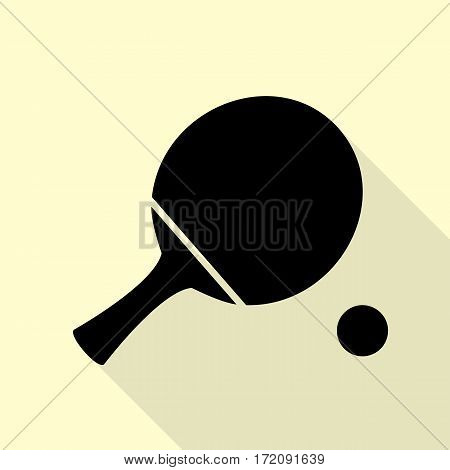 Ping pong paddle with ball. Black icon with flat style shadow path on cream background.