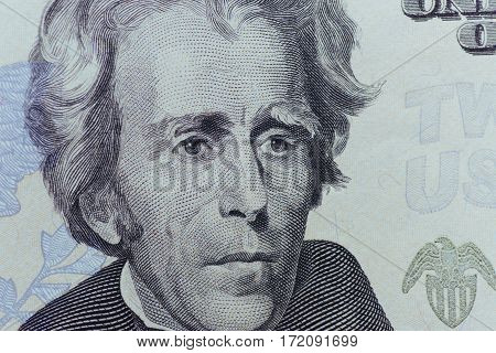 US President Jackson face on US twenty or 20 dollars bill macro, united states money closeup