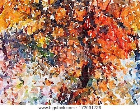 Digital watercolor painting of a black brown orange yellow green and white painted abstract background with autumn colors. With space for text.
