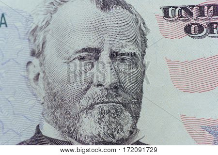 Ulysses Grant on the US fifty person or 50 bill macro closeup money us