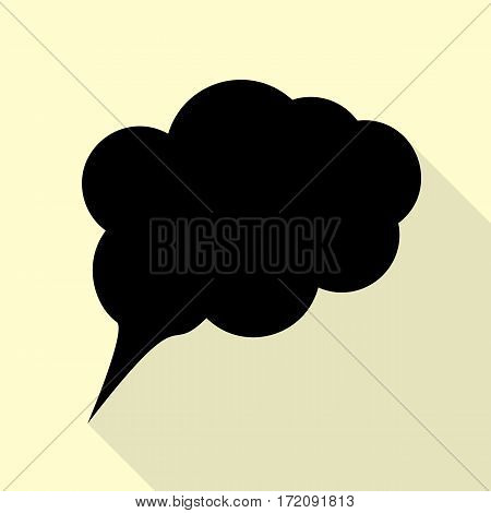 Speach bubble sign illustration. Black icon with flat style shadow path on cream background.