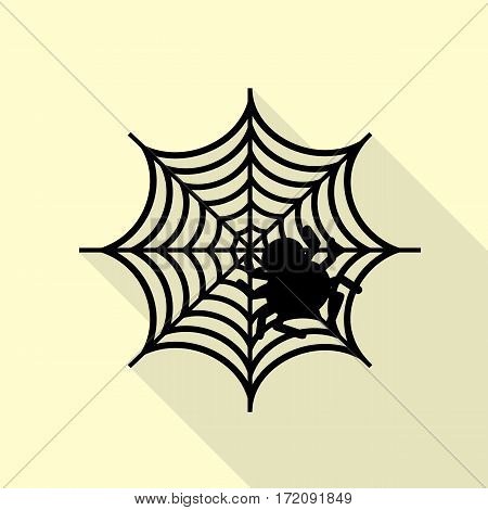 Spider on web illustration Black icon with flat style shadow path on cream background.