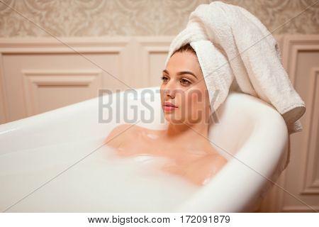 Beautiful woman in the bathroom