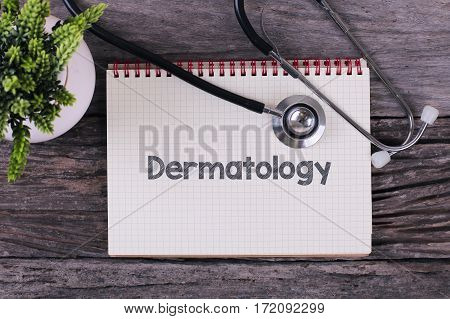 Dermatology Word On Notebook,stethoscope And Green Plant.