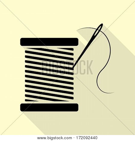 Thread with needle sign illustration. Black icon with flat style shadow path on cream background.