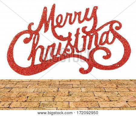 Image merry christmas background with brick wall