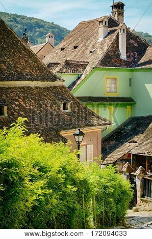 Medieval Town Sighisoara in RomaniaTransylvania - September 2014: one of the few still inhabited citadels in Europe UNESCO World Heritage Site