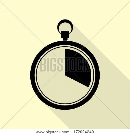 The 20 seconds, minutes stopwatch sign. Black icon with flat style shadow path on cream background.