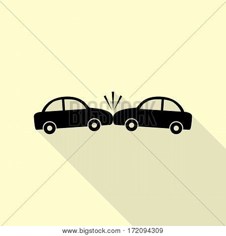 Crashed Cars sign. Black icon with flat style shadow path on cream background.