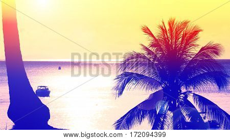 Silhouette at sunset on tropical island,vintage style Thailand