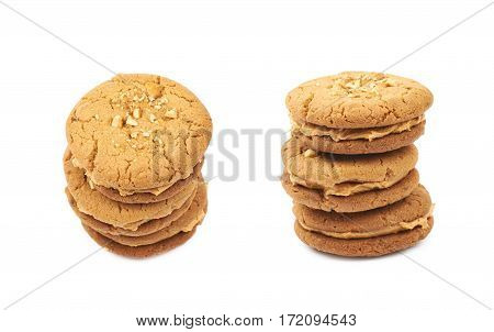 Pile of peanut butter homemade cookies, composition isolated over the white background, set of two different foreshortenings