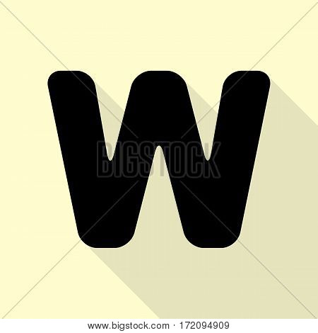 Letter W sign design template element. Black icon with flat style shadow path on cream background.