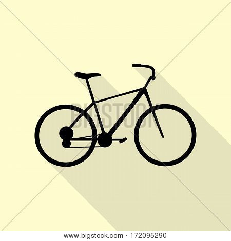 Bicycle, Bike sign. Black icon with flat style shadow path on cream background.