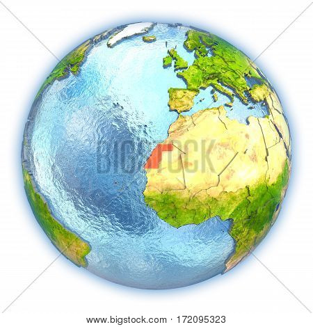 Western Sahara On Isolated Globe
