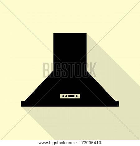 Exhaust hood. Kitchen ventilation sign. Black icon with flat style shadow path on cream background.