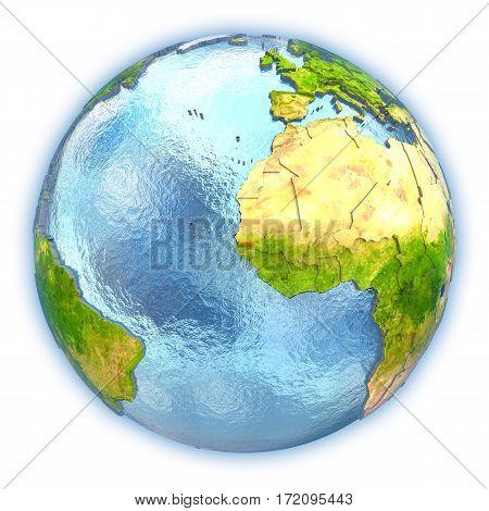 Gambia On Isolated Globe
