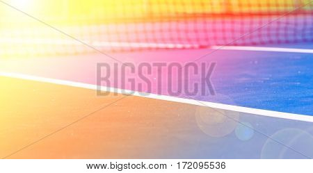 Image Of Tennis Court Net With Color Filters