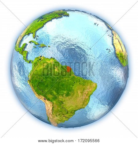French Guiana On Isolated Globe