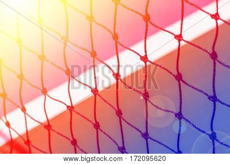 Tennis court net close up with color filters