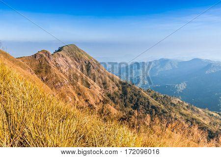 beautiful landscape of Chang phuak mountain in Thong pha phum National park Kanchanaburi in Thailand.