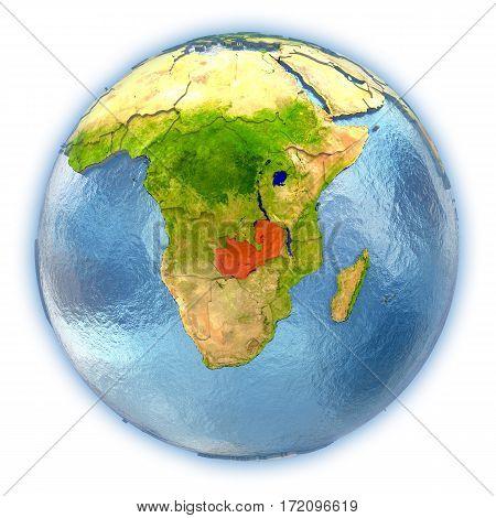 Zambia On Isolated Globe