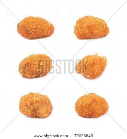 Single breaded peanut isolated over the white background, set of six different foreshortenings