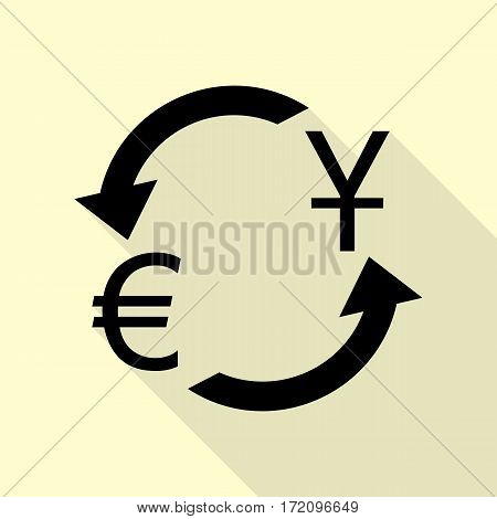 Currency exchange sign. Dollar and Euro. Black icon with flat style shadow path on cream background.