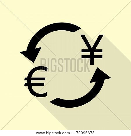 Currency exchange sign. Euro and Japan Yen. Black icon with flat style shadow path on cream background.