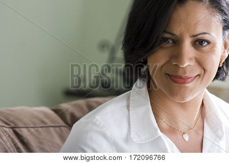Happy Beautiful Confident African American Woman Smiling