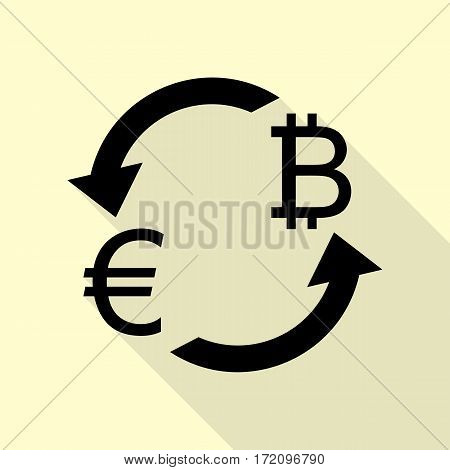Currency exchange sign. Euro and Bitkoin. Black icon with flat style shadow path on cream background.