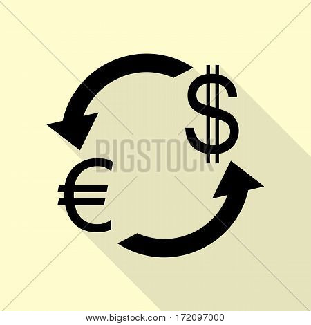 Currency exchange sign. Euro and US Dollar. Black icon with flat style shadow path on cream background.