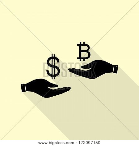 Currency exchange from hand to hand. Dollar and Bitcoin. Black icon with flat style shadow path on cream background.
