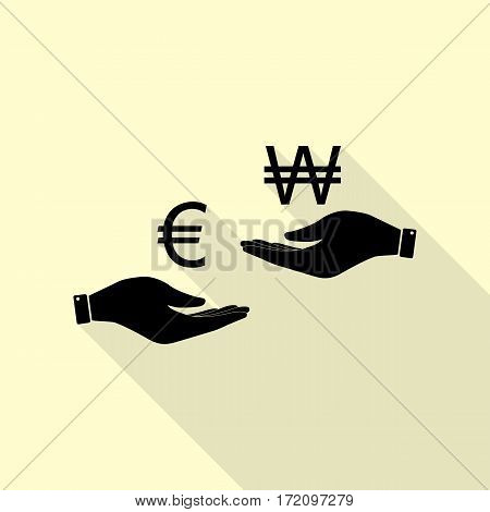 Currency exchange from hand to hand. Euro and Won. Black icon with flat style shadow path on cream background.