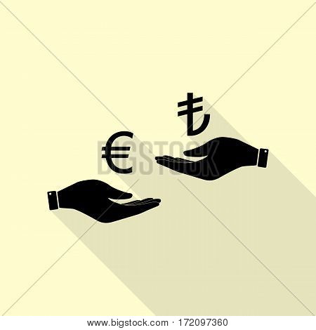 Currency exchange from hand to hand. Euro and Lira. Black icon with flat style shadow path on cream background.