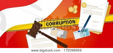 Indonesia fights corruption money bribery financial law contract police line for a case scandal government official vector