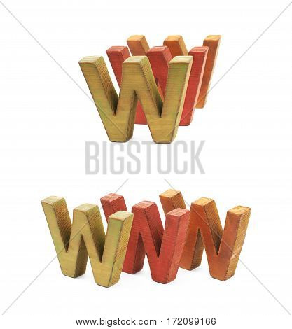 World wide web acronym WWW made of painted wooden letters, composition isolated over the white background, set of two different foreshortenings